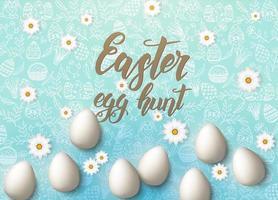Easter poster with eggs, chamomile, hand made trendy lettering Easter egg hunt and paschal symbols in sketch style on blue. Banner, flyer, brochure. Background for holidays, postcards, websites vector