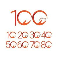 100 Years Anniversary Celebration Number Vector Template Design Illustration Logo Icon