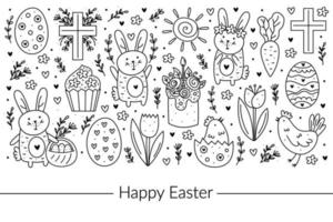 Happy Easter doodle line art design. Black monochrome elements. Rabbit, bunny, christian cross, cake, cupcake, chicken, egg, hen, flower, carrot, sun. Isolated on white background. vector