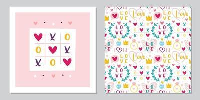 Diseño de plantilla de tarjeta de felicitación de San Valentín. amor, corazón, anillo, corona, tic tac toe. relación, emoción, pasión. patrón sin costuras, textura, fondo. vector