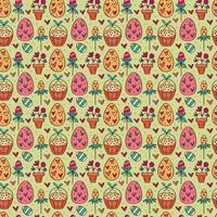 Easter holiday seamless pattern, texture, background. Herbs, eggs in basket, flower in pot, hearts. Children packaging design, paper. Isolated on backdrop. vector
