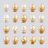 Easter eggs set gold color with different and patterns texture. Vector illustrations.