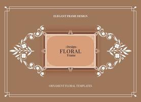 marco floral marrón suave vector