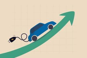 El precio de las existencias de automóviles eléctricos se dispara, ev, la ganancia de vehículos eléctricos y el aumento de las ganancias en el concepto de mercado de valores de la nueva economía vector