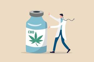 Medical cannabis, legal extract of marijuana oil for medical use to cure disease concept vector