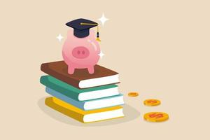 Education fund, collect money for school, college and university cost or student scholarship or loan concept vector