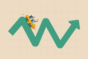 Metáfora de la volatilidad de la inversión de la montaña rusa, la fluctuación del mercado de valores financieros subiendo y bajando concepto vector