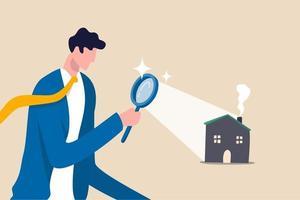 buscando casa nueva, busque tasación inmobiliaria y de alojamiento o nuevo concepto de alquiler e hipoteca vector