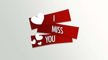 animierte Nahaufnahme Ich vermisse Sie Text und Bewegung romantische kleine weiße Herzen auf Valentinstag Hintergrund