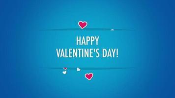 geanimeerde close-up gelukkige Valentijnsdag tekst en beweging romantische kleine rode harten op Valentijnsdag achtergrond video