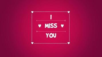 primo piano animato mi manchi testo e movimento romantici piccoli cuori rossi su sfondo di San Valentino video
