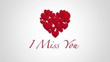 geanimeerde close-up ik mis je tekst en beweging romantische kleine rode harten op Valentijnsdag achtergrond video