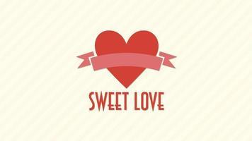 geanimeerde close-up zoete liefde tekst en beweging romantisch groot rood hart op Valentijnsdag achtergrond video