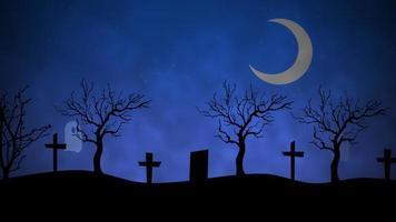 Halloween Hintergrundanimation mit den Geistern auf dem Friedhof