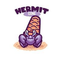 Hermit Crab Sea Creature Cartoon vector