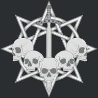 Vector design of skulls with sword and star