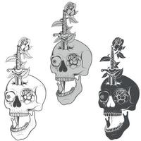 Grayscale Dagger Skull and Roses Vector Design