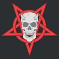 Design of evil skull and interlocking pentagram vector
