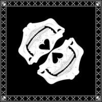 vector de bandana con medio cráneo y huesos