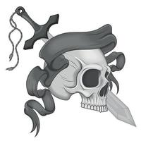 Illustration of skull with sword and ribbon vector