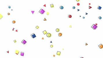 movimento formas geométricas abstratas pontos e quadrados, fundo colorido de memphis video