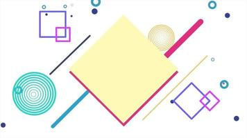beweging abstracte geometrische vormen vierkanten en stippen, witte memphis achtergrond