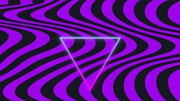 animatie abstracte neongolven en driehoek, beweging disco achtergrond