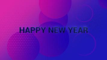 animação texto feliz ano novo e movimento formas geométricas abstratas, fundo de memphis