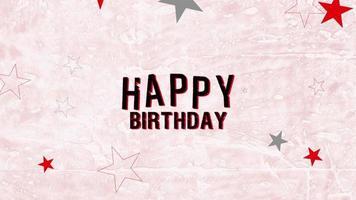 animatie intro tekst gelukkige verjaardag op roze hipster en grunge achtergrond met retro sterren
