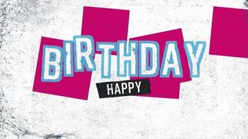 animatietekst gelukkige verjaardag op witte hipster en grunge achtergrond met geometrische vormen