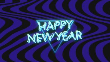 Texte d'introduction d'animation bonne année sur fond de mode et de club avec triangle bleu brillant