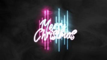 animação texto feliz natal na moda e plano de fundo do clube com linhas brilhantes em azul e vermelho video