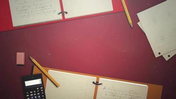 closeup tabela de aluno com caderno e calculadora, plano de fundo escolar de
