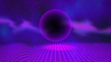 Bewegung Retro lila Kugel und Gitter, abstrakter Hintergrund mit Rauschen und