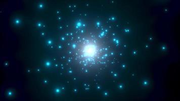 movimento partículas azuis e estrelas na galáxia, fundo abstrato