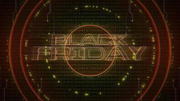 texto de animação black friday e fundo de animação cyberpunk com matriz de computador, números e círculos