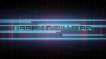 texto de introdução de animação feliz ano novo e fundo de animação cyberpunk com matriz de computador e linhas de néon