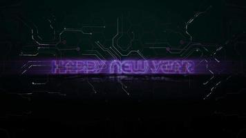 texto de introdução de animação feliz ano novo e fundo de animação cyberpunk com chip de computador e linhas de néon