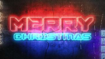 animação texto feliz natal e fundo de animação cyberpunk com luzes de néon na parede da cidade