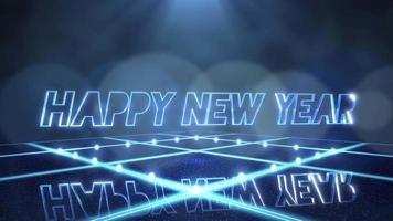 animation text gott nytt år och rörelse blått ljus på scenen, abstrakt semester bakgrund