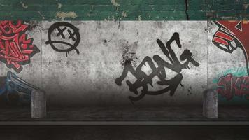 generisk animering av grunge vägg av byggnad på gatan i sommardag