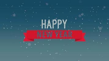 closeup animado texto de feliz ano novo e flocos de neve brancos voando sobre fundo azul de neve