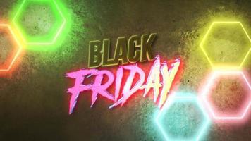animation intro text svart fredag och rörelse färgglada neonljus på väggen, abstrakt bakgrund