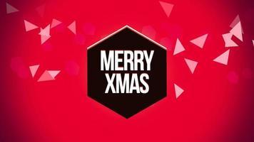 animierte Nahaufnahme fröhlichen Weihnachtstext und geometrische Dreiecke auf Schneehintergrund