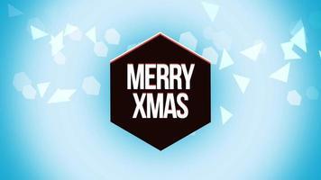 closeup animado texto feliz natal e triângulos geométricos em fundo de neve