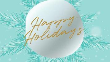 animierte Nahaufnahme frohe Feiertagstext und Winterlandschaft mit Schneeflocken auf Feiertagshintergrund