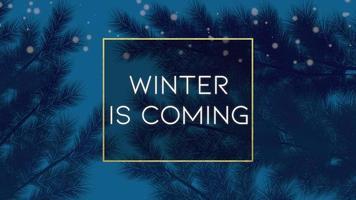 animierte Nahaufnahme Winter kommt Text und Winterlandschaft mit Bäumen und Schnee auf Feiertagshintergrund