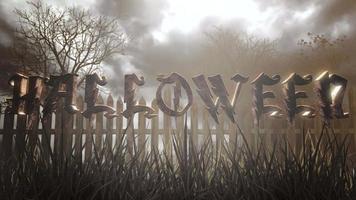 animação texto halloween e fundo místico de halloween com floresta escura e neblina