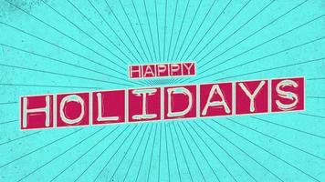 Animations-Intro-Text Frohe Feiertage auf grünem Hipster und Grunge-Hintergrund video