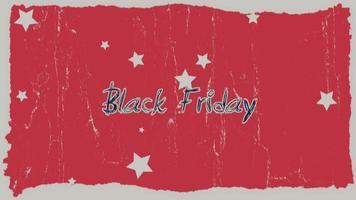 animatie intro tekst zwarte vrijdag op rode hipster en grunge achtergrond met sterren